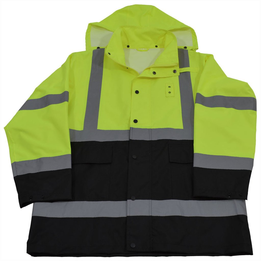 ANSI/ISEA Class 3 Lime/Black Waterproof Rain Jacket #LBRJK-C3