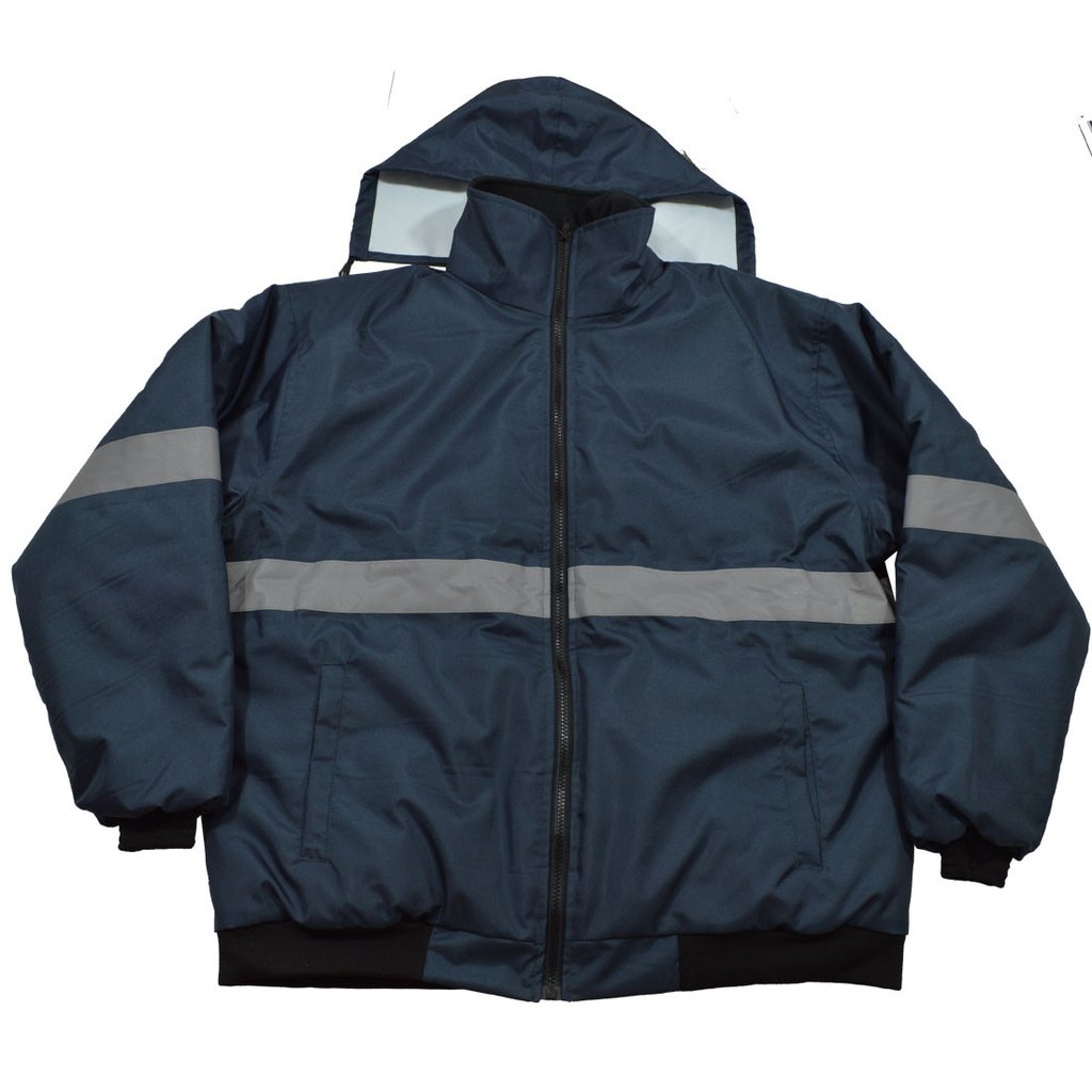 Enhanced Visibility Navy Blue Quilted Bomber Jacket #NVBJ-S1