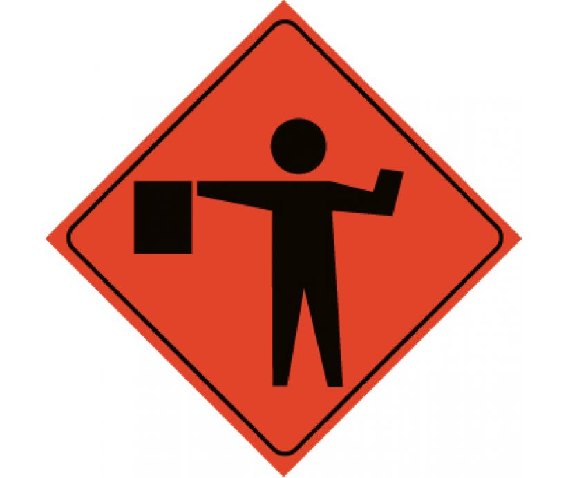48x48 Flagger Ahead Superbrite Sign #07-800-4024-L