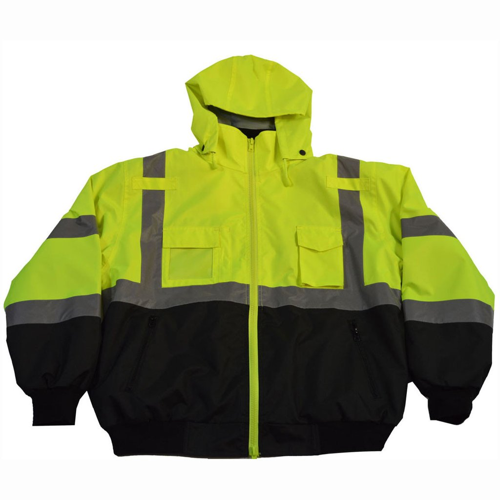 Class 3 Lime/Black Waterproof Bomber Jacket with Removable Fleece Liner #LBBJ-C3