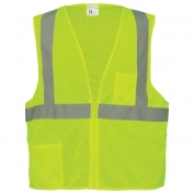 Class 2 Lime Green Safety Vest Zip Front #GLO-001