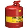 Justrite® Type I Safety Can, 5 gal, Red #7150100JR