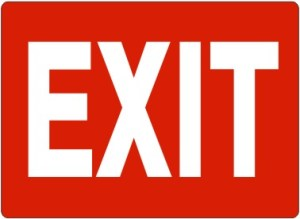 EXIT SIGN- WHITE ON RED PLASTIC 7x10 #G-168223