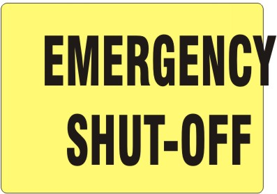 EMERGENCY SHUT-OFF BLK/YEL PLASTIC 7x10 #G-934923