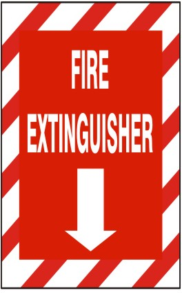 FIRE EXTINGUISHER WITH DOWN ARROW WITH RED & WHT STRIPE BORDER PLASTIC 10x7 #G-262923