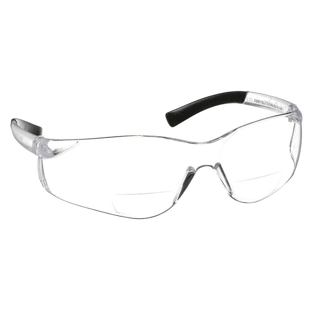 Clear Scratch-Resistant Safety Reading Glasses, +2.5 Diopter #S2510R25