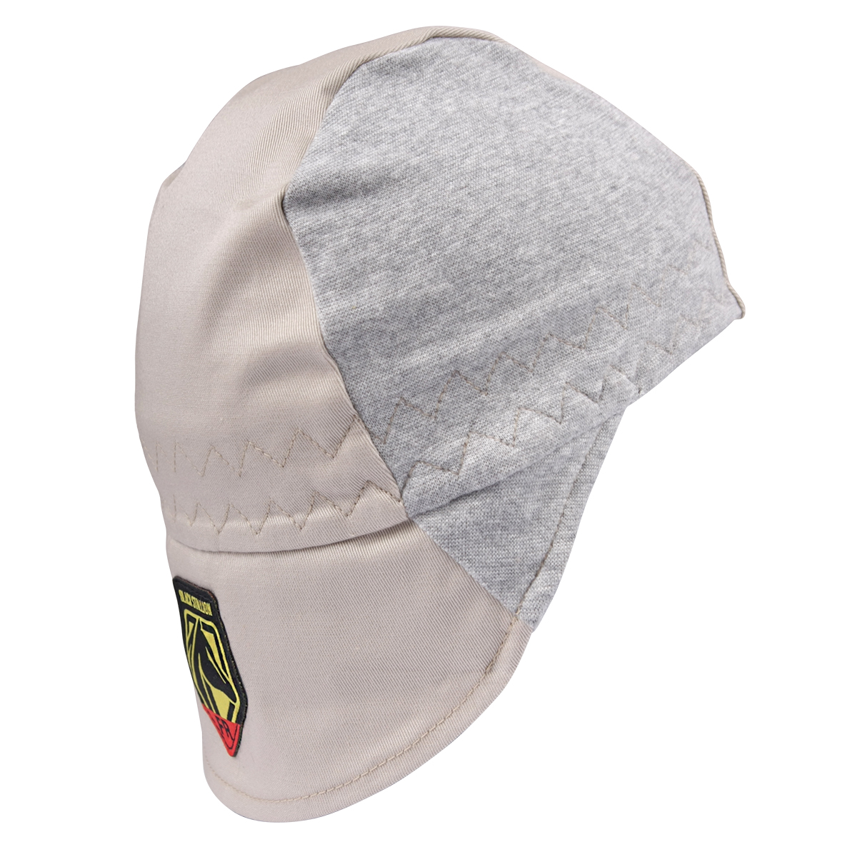FR Cotton Welding Cap with Hidden Bill Extension, Gray/Stone Khaki #AH1630-GS