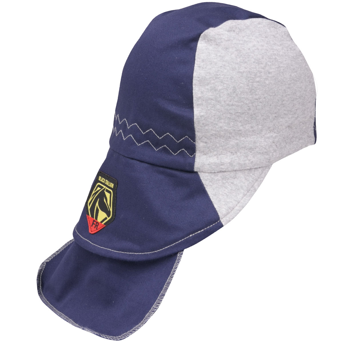 FR Cotton Welding Cap with Hidden Bill Extension, Navy/Gray #AH1630-NG