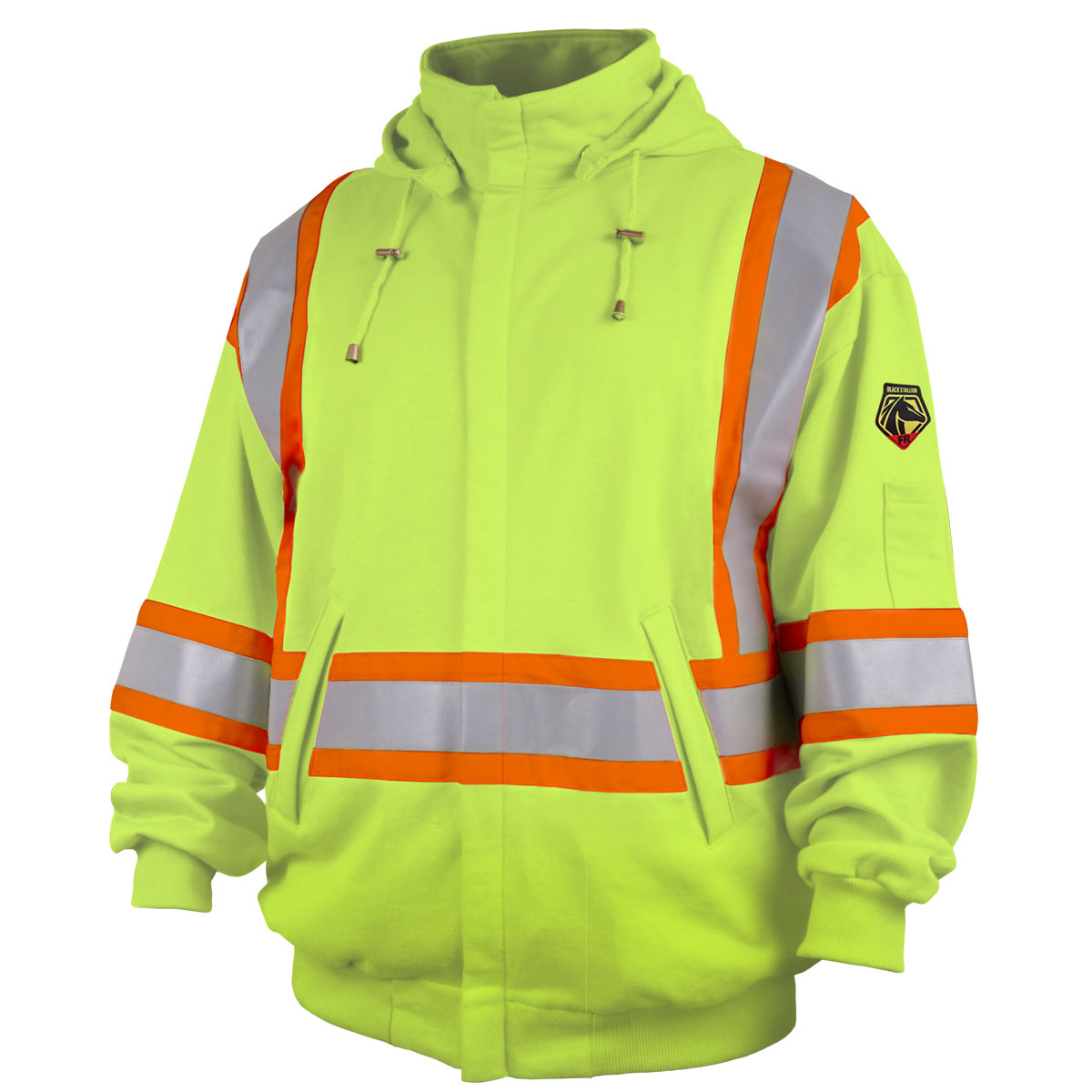 TruGuard 200 FR Cotton Full Zip Hooded Sweatshirt, Safety Lime #JF1332-LM
