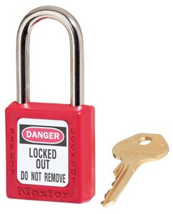Safety Padlock Keyed Different Red Danger 1 1/2