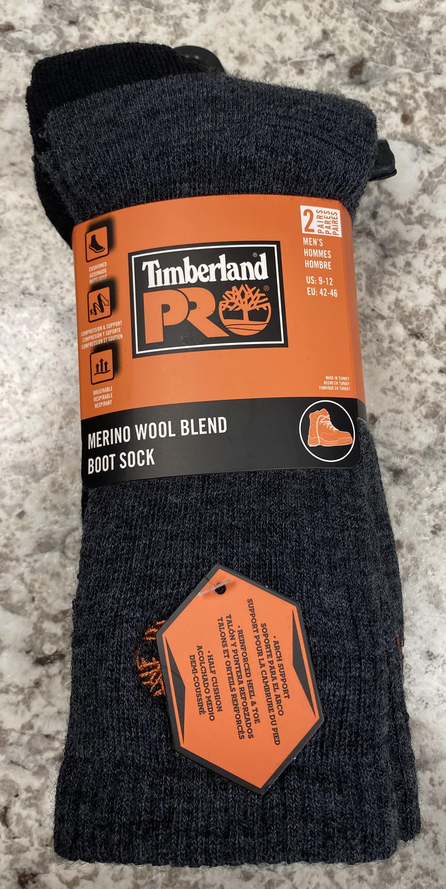 Merino Wool Blend Boot Sock #43TB219996TD-BK